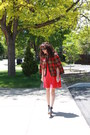 Black-mules-vera-wang-shoes-red-old-navy-dress-red-plaid-vintage-cape