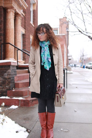 tawny vintage boots - black lace thrifted dress - beige trench DKNY coat