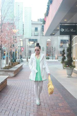 aquamarine lace thrifted dress - white Rue 21 coat - light yellow thrifted shirt