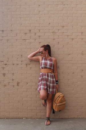 tawny backpack Jolly Chic bag - red plaid Forever 21 dress