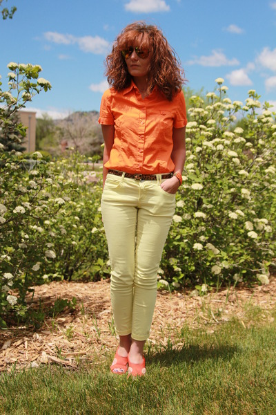yellow Target jeans - carrot orange button down Rafella shirt