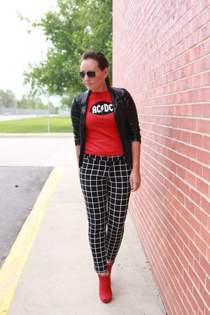 black sequined thrifted blazer - red Target boots - red acdc thrifted shirt
