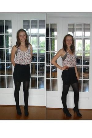 white katoen H&M blouse - black katoen Action skirt - black Primark panties - bl