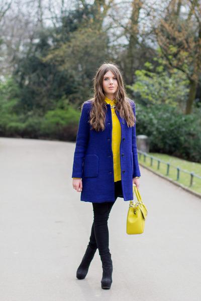 navy asos boots - navy Zara coat - black Zara jeans - gold Fiorelli bag