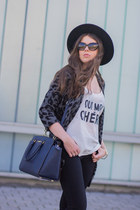 heather gray GINA TRICOT coat - black Zara jeans - navy Michael Kors bag