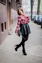black Primark bag - black asos heels - ruby red Primark skirt