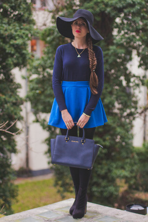 blue BangGood shirt - black asos boots - black H&M hat - navy Michael Kors bag