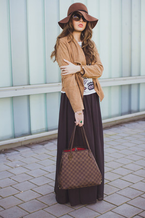 brown H&M hat - brown Mango jacket - dark brown Louis Vuitton bag