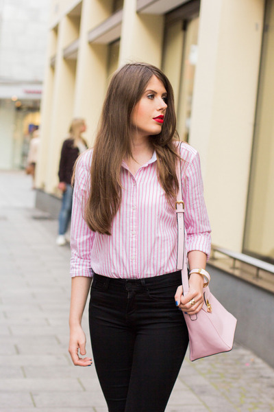 light pink BangGood bag - black Zara jeans - light pink GINA TRICOT shirt
