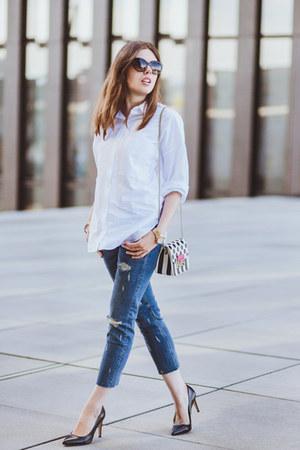 Zara shirt - Zara jeans - Furla bag - Dolce & Gabbana sunglasses
