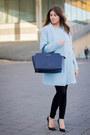 Sky-blue-zara-coat-heather-gray-h-m-sweater-navy-michael-kors-bag