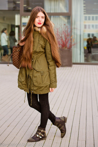 black spikes lulus boots - olive green oversize asos jacket