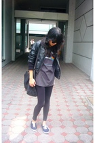 black Mango jacket - black sgwang t-shirt - black Forever21 leggings - black Top