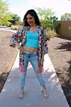 pink kimono DIY cape - sky blue ripped Zara jeans