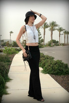 black Charming Charlie hat - crossbody mac Rebecca Minkoff bag