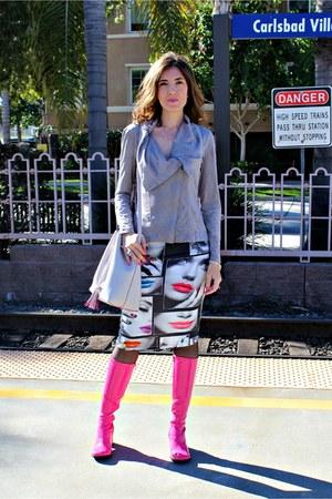 hot pink mod pink Flashbacks boots - silver tassel Steve Madden bag