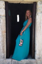 clutch Betsey Johnson wallet - turquoise blue maxi dress Tiana B dress