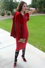 Red-midi-asos-dress-plaid-shoedazzle-pumps-patterned-oroblu-stockings