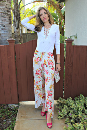 white diy lace up H&M shirt - bubble gum floral wide leg Closet Signature pants