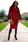 Red-midi-asos-dress-plaid-shoedazzle-pumps-patterned-oroblu-stockings