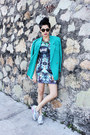 Green-bodycon-biography-dress-turquoise-blue-cotton-vintage-blazer