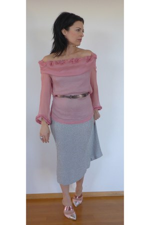 pink chiffon Dries Van Noten blouse - silver mesh Dries Van Noten skirt