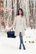 white SANDRO dress - white Sinéquanone coat - navy Henrik Vibskov tights