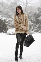 black antigona Givenchy bag - beige faux fur personal creation coat