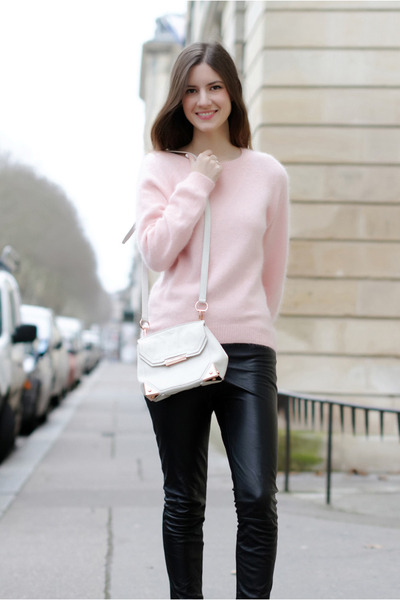 light pink mohair Lana Del Rey for H&amp;M sweater - white Alexander Wang bag