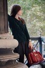 Black-leather-maje-skirt-forest-green-zara-sweater-brick-red-chloe-bag