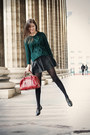 Forest-green-zara-sweater-brick-red-chloe-bag-black-leather-maje-skirt
