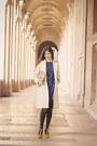 Blue-zara-dress-white-sinéquanone-coat-mustard-chloe-heels
