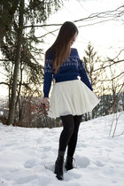 blue vintage sweater - white Naf Naf skirt