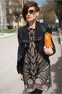 Tan-amen-dress-black-ekoclo-jacket-carrot-orange-ebay-bag-black-zara-wedge