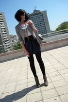 gray Stradivarius shoes - gray By Zoe jacket - blue American Apparel skirt