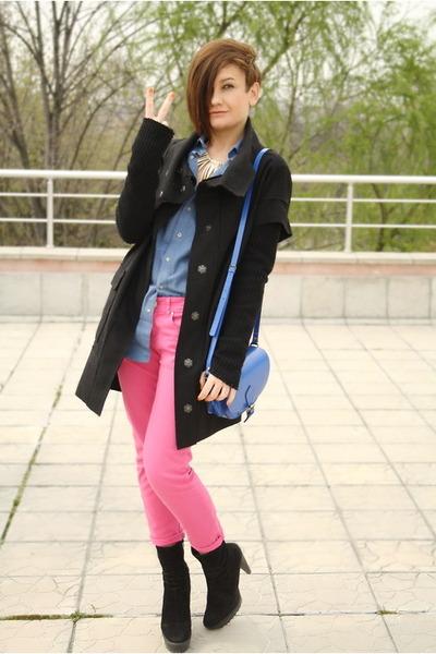 asos bag - amen coat - American Apparel shirt - Zara pants - asos necklace