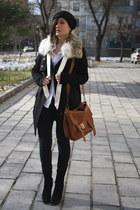 black Zara jeans - black Zara boots - black amen coat - black Ebay hat