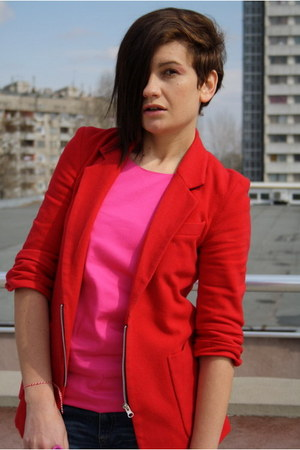 red Public Beware blazer - black Zara boots - red H&M bag - hot pink top