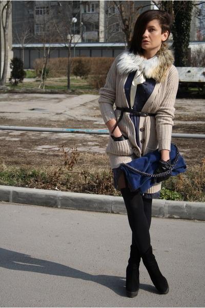 black Zara boots - beige Chloe dress - black Henry Holland tights - tan vintage