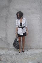 black Zara skirt - white mans Zara shirt - gray bag Zara accessories