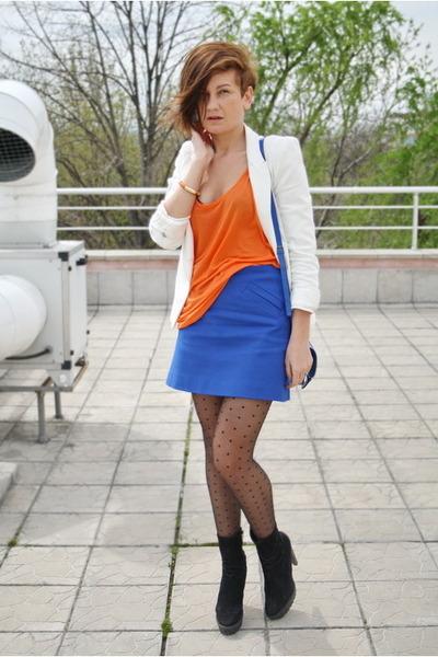 blue asos bag - black Zara boots - white Zara blazer