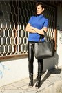 Blue-zara-top-black-new-yorker-pants-black-givenchy-sandals