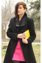black Zara coat - hot pink dress - yellow H&M bag