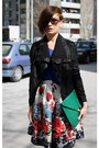 Black-ekoclo-jacket-teal-bag-blue-stradivarius-top-white-primark-skirt