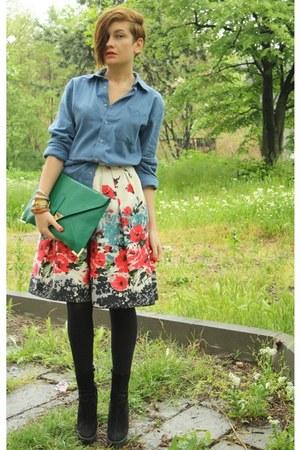 blue American Apparel shirt - green asos bag - ivory Primark skirt - gold asos b