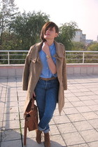 blue vintage jeans - brown New Yorker shoes - beige Mango coat