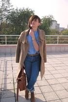 blue vintage jeans - brown New Yorker shoes - beige Mango coat