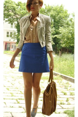 heather gray shampalove shoes - ivory H&M jacket - tan American Apparel shirt