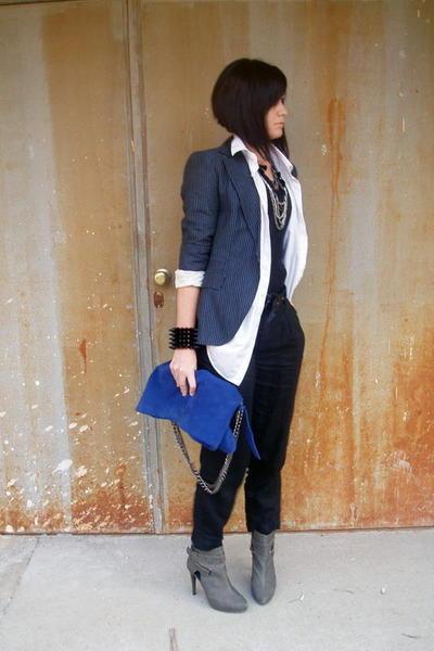 white Zara Man shirt - black Topshop pants - blue Zara blazer - gray Stradivariu