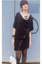 black cc DIY necklace - black zipper COS dress - silver studded BikBok bracelet